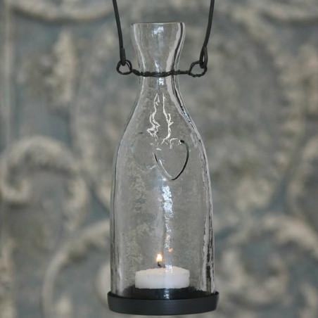 Gl. glas med lysholder, 14 cm