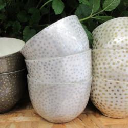 Skål hvid med sølvprikker